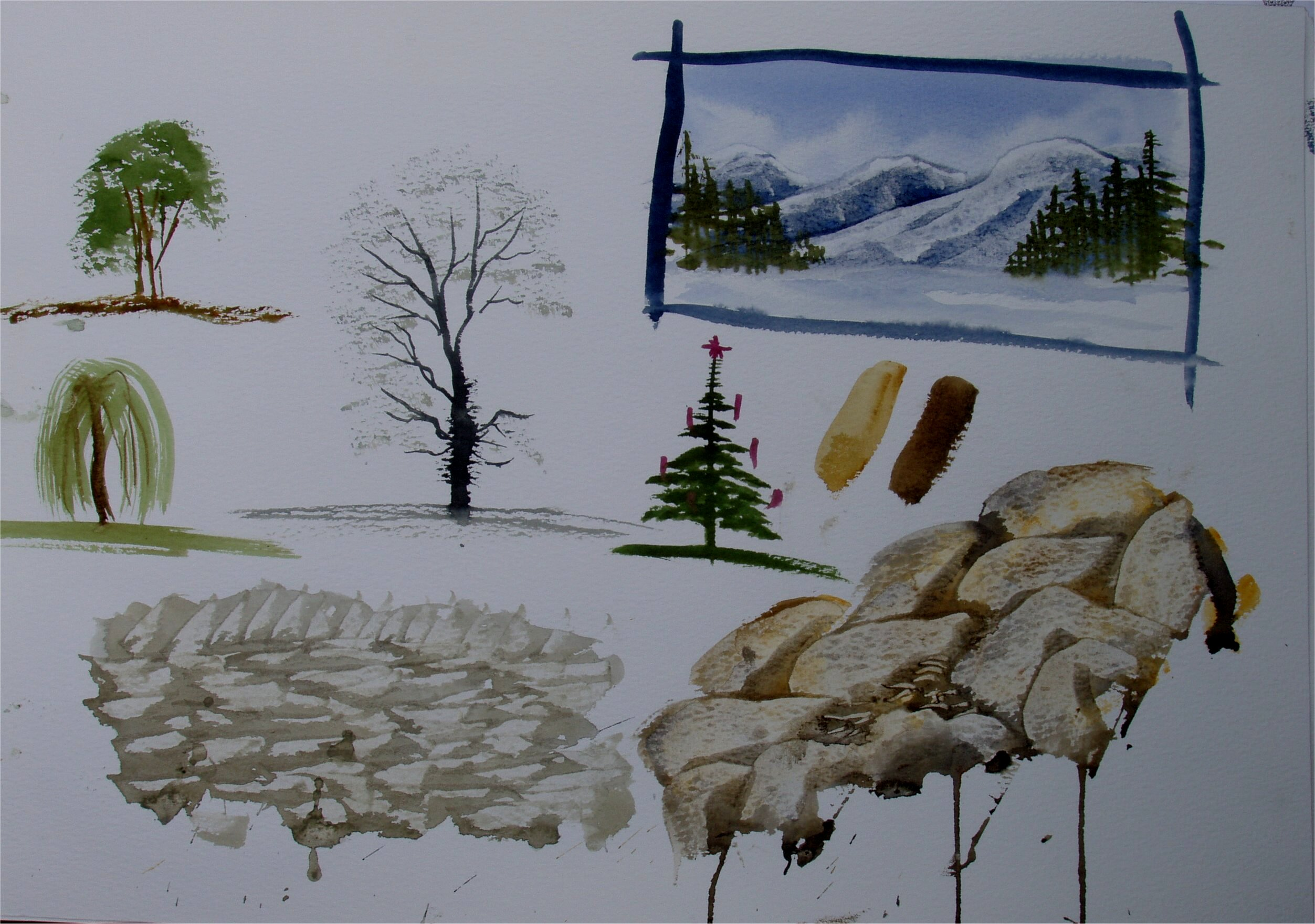 How to paint trees, rocks and mountains