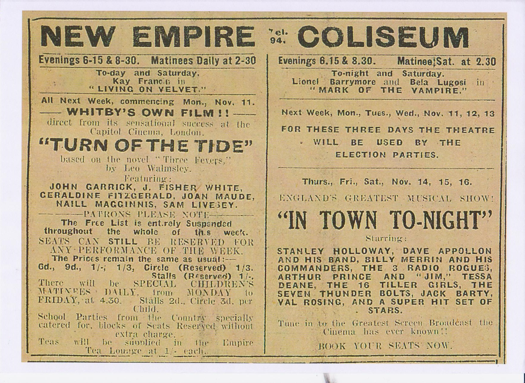 Advert for the film in the Whitby Gazette