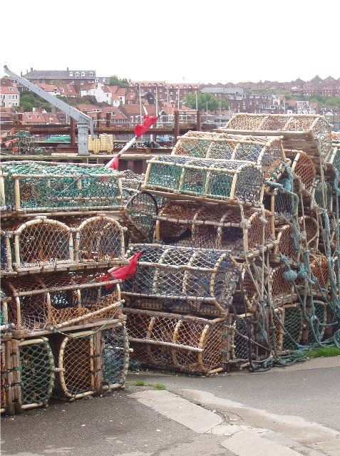 Modern lobster pots in Whitby ('Burnharbour')