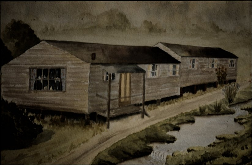 The hut as it was in the 1950s, painted by Nona Stead