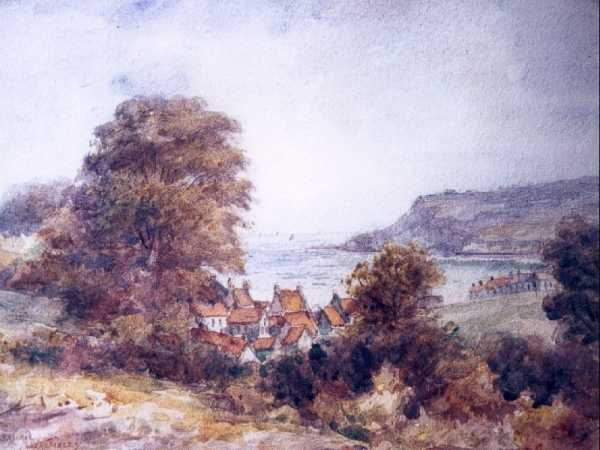 Ulric Walmsley's painting of Robin Hood's Bay from the seashore